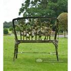 Back Of Black and Bronze Rose Design Bench