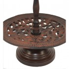 Close up detail on rustic cake stand
