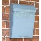Light Pastel blue wall mounted post box with curved lid