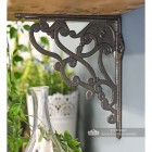 Side view of natural cast iron living room decorative shelf bracket