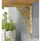 Interior design shelf bracket, polished brass finish