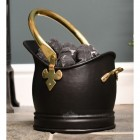 Iron Traditional Coal Bucket Finished in Polished Brass & Black