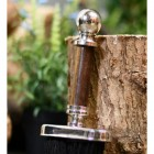 Fireside brush, close up of hardwood handle with ball finial