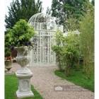 """The Royal Alexandria"" Cream Wrought Iron Gazebo in Situ in the Garden"