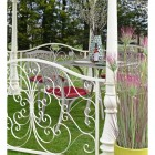 Detailed image of scrollwork handrail on gazebo