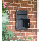 Black secure post box with two keys