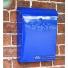 Sapphire blue wall mounted post box
