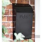 Black modern steel post box