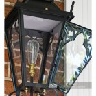 Close up image of door open on gothic lantern