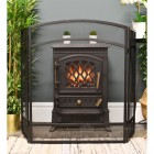 Simplistic Black Three Fold Fire Guard in living room