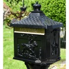 Black ornate secure post box with brushed gold letter flap