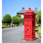 Cast robust freestanding letter box finished in bright red
