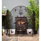 Black Curved 2 fold fire screen in living room