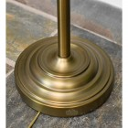 Close up of large round antique bronze base on floor lamp