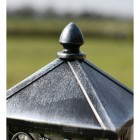 Close up of black & silver finish on finial