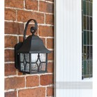 Outdoor porch light finished in black