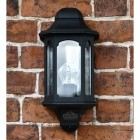 Exterior wall lantern finished in black