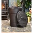 Black coal bucket in living room