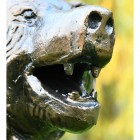 Close-up of the Mouth of the Bear Cub Antique Bronze Garden Sculpture