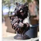 Antique Bronze Cast Iron Wolf Head Bust