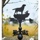 Labrador dog weathervane in garden