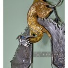 Dragon Wall Sculpture Created From Silver Metal and Gold