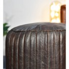 Round Goat Leather Pouffe