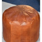 Round Pouffe Created From Light Tan Leather