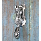 Bright Chrome Squirrel Door Knocker on Antique Door