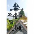 Cast Iron Sail Boat Weathervane Mounted on the Universal Bracket Vertically