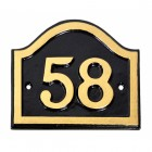 Black & Gold Painted Arched Number Sign