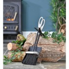 Black and Pewter Loop Handle Brush and Pan Set in Situ by the Fire Place