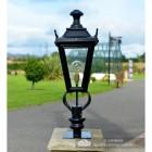 Black Dorchester Pillar Light in Situ