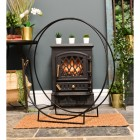 """Harewood Park"" Contemporary Wrought Iron Log Holder in a Black Finish"