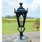 Black Gothic Pillar Light and Lantern Set in Situ on the Driveway