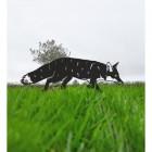 Black Iron Silhouette Fox in Situ in the Garden