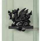 Black Iron Welsh Dragon Door Knocker On Front Door