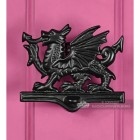 Black Iron Welsh Dragon Door Knocker On Pink Door
