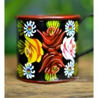 Close-up of the Hand Painted Rose Design on the Mug