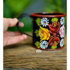 Black Hand Painted Narrow Boat Mug to Scale
