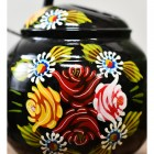 Close-up of the Floral Design on the Black  Watering Can