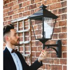 Black outdoor traditional wall lamp
