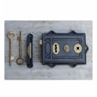 Ornate Rim Lock in Cast Iron & Polished Brass