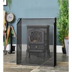 Black Sloping Fire Guard in Situ in Front of the Fire Place