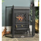 Black Square Three Fold Fire Guard