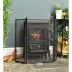 Black Square Three Fold Fire Guard In Front Of Stove