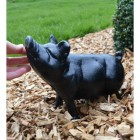 Standing pig garden ornament finished in black