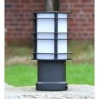 Black Steel Low Level Bollard Light in Situ outside