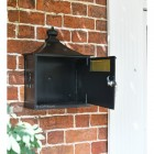 Black Suffolk Post or Parcel Box With Open Front Door