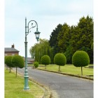 Blue Cast Iron Lamp Post In Period Garden Setting